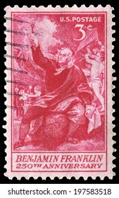 US-1955: Benjamin Franklin (1706 � 1790) taking electricity from the sky. Issued by USPS in 1955, canceled in usage.