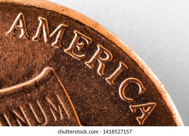 USA 1 c, one dime united states american  cent, bronze super macro 5x Close-up detail on a United States  coin - AMERICA