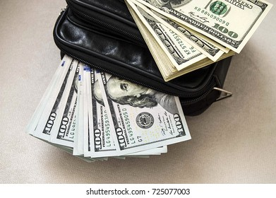 USA $ 100, leather black bags in dollars pictures, wallet in dollars pictures,