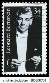 USA- 2001: Leonard Bernstein (1918-1990), American composer, conductor, author, music lecturer, and pianist. Issued in 2001, canceled in usage.