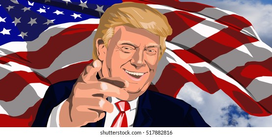 USA, 2016. Smiling president Donald Trump, pointing his index finger towards the viewer in front of a waved American flag and cloudy sky. No specific place, date or single image for reference, USA.