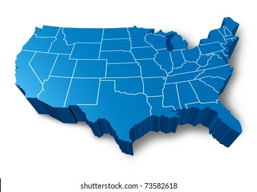 usa 3d map symbol represented by a blue dimensional united states