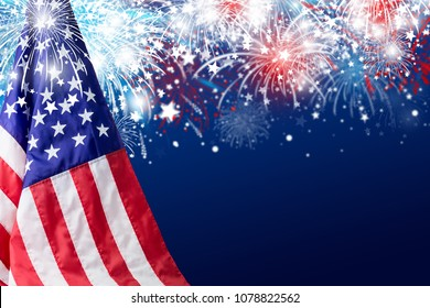 USA 4 july independence day design of american flag with fireworks background