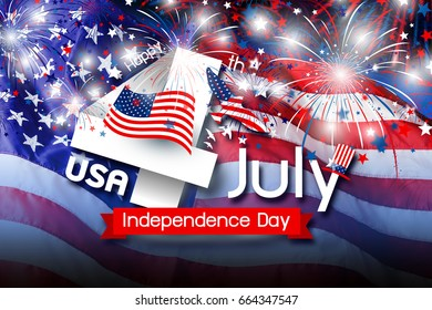 USA 4th july independence day design of america flag with firework background