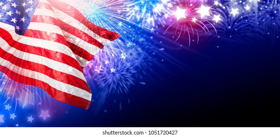 USA or america flag with fireworks abstract background