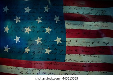 Usa America national anthem Star Spangled Banner original paper hand written on star and stripes flag background
