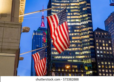 USA America National Flags on the City Light Night Bokeh Background, Horizontal View