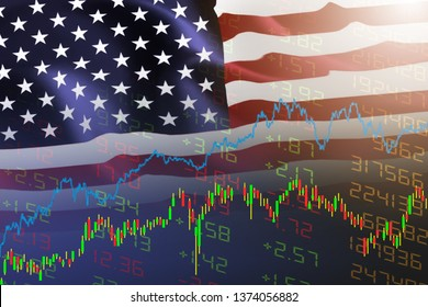 USA. America stock market / New york stock exchange analysis forex indicator Trading graph chart business growth finance money crisis economy and dollar Trade war with America usa flag. blurred photo