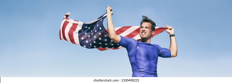 USA american athlete waving flag in success winning competition race on blue background panoramic banner. Man sports win first place.