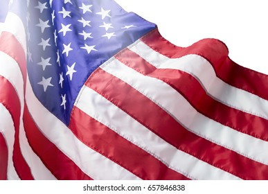 USA or american flag isolated on white background with clipping path  for 4 july independence day or other celebration
