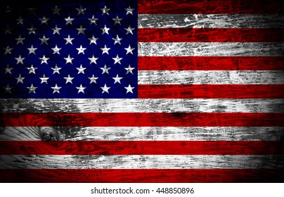 USA American flag on old wood plank background
