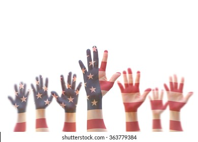 USA American flag pattern on people hands for independence day, democratic voting, volunteering participation election, civil rights, national holiday service help wanted concept