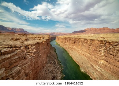 USA, Arizona, Coconino County. A view of the blue-green waters of the Colorado River as it flows through Marble Canyon taken from Navajo Bridge near Lee's Ferry.