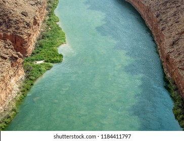USA, Arizona, Marble Canyon. A view of the blue-green waters of the Colorado River taken from Navajo Bridge near Lee's Ferry.