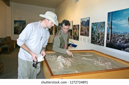USA, Arizona - November 27, 2009: tourists in the national park visitor center Organ pipe national park, Arizona