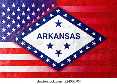USA and Arkansas State Flag painted on leather texture