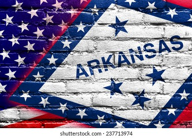 USA and Arkansas State Flag painted on brick wall