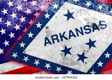 USA and Arkansas State Flag with a vintage and old look