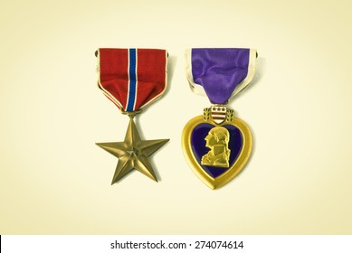 USA army medals for valor and wounds from active combat. Retro instagram look.