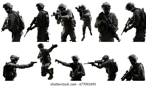 USA Army soldier (ISAF) with rifle. Shot in studio on white background