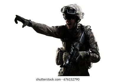 USA Army soldier (ISAF) with rifle(motion effect). Shot in studio on white background