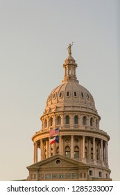 USA, Austin, Texas, Capitol Building (1888) built of red granite. Crowning the dome is the statue of the Goddess of Liberty. Architect Elijah E. Myers.