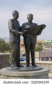 USA, AZ, LAKE HAVASU CITY - DEC 16, 2017 - Sculpture of Robert P. McCulloch Sr, Founder and C.V. Wood Jr, Master planner of the London Bridge at Lake Havasu City. The sculpture artist was Lou Hunt.