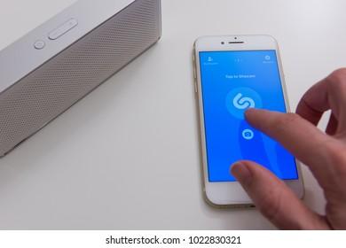 USA, BOSTON - DECEMBER 10: Shazam mobile application on screen of Apple Iphone 7 on December 10, 2017
