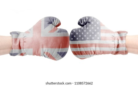 USA and British flags on boxing gloves.USA vs UK concept.