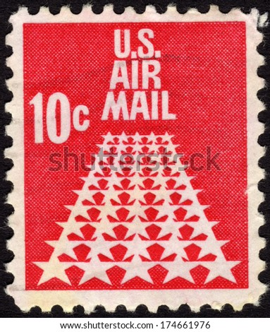 1968 United States Postage Stamp In The Value Of 10c Used For Overseas Air Mail Deliveries Showing Symbols And Print US