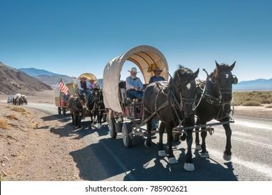 USA, CA, DEATH VALLEY - CIRCA NOV 2008 - Death Valley 49ers Wagon Train