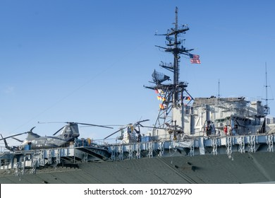 USA, CA - OCT 22, 2016 - USS Midway aircraft carrier with helicopters at San Diego