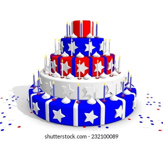 USA cake with red blue and white
