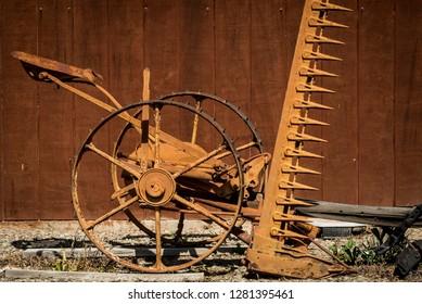 USA, California, Central Valley, San Joaquin River Valley, Vernalis, Pelican Road, McCormick hay-mower at home of Dave Vierra, former dairy farmer, MPR