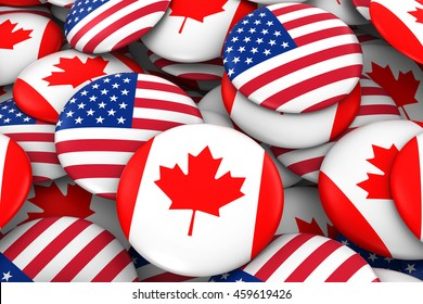 USA and Canada Badges Background - Pile of American and Canadian Flag Buttons 3D Illustration