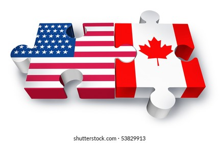 Canada usa flag images stock photos vectors shutterstock usa canada cooperation puzzle isolated on white background publicscrutiny Image collections