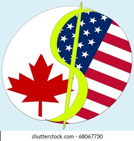 USA - Canada Dollar sign. Symbol to show the relationship and dependency between USA and Canada.