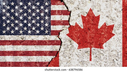 USA Canada flag cracked wall background