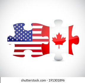 usa and canada flag puzzle pieces illustration design over a white background