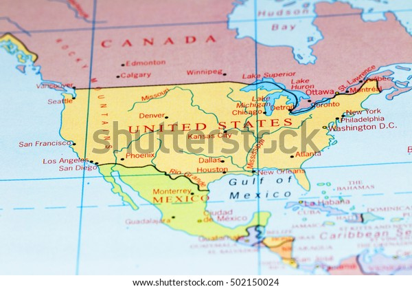Usa Canada On Colourful Map Stock Photo (Edit Now) 502150024