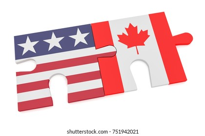 USA Canada Partnership Concept: US Flag And Canadian Flag Puzzle Pieces, 3d illustration isolated on white background