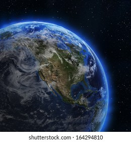 USA and Canada from space. Elements of this image furnished by NASA