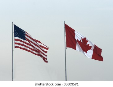 usa canadian flags