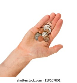 USA cents in the hand of a man, isolated on white