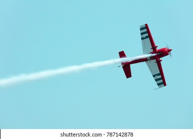 USA, Chicago - August 19: American biplane Waco UPF-7 performing  at Chicago Air and Water Show on August 19, 2017