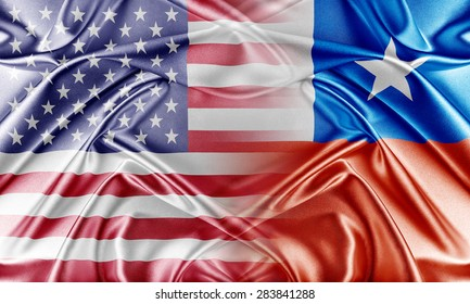 USA and Chile. Relations between two countries. Conceptual image.