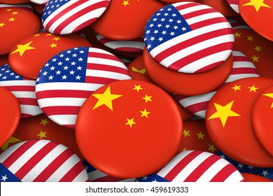 USA and China Badges Background - Pile of American and Chinese Flag Buttons 3D Illustration