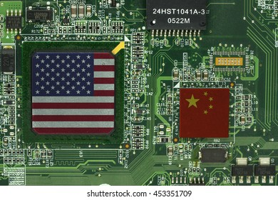 usa and china flag on processor on green mainboard - can use to display or montage on products or concept of technology of two country