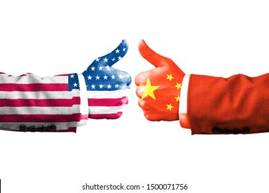 USA and China flag print screen on like hand symbol with white background.It is symbol of economic tariffs trade war and tax barrier between United States of America and China.