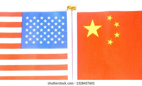 USA and China flags isolated on white background